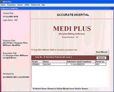 Medi Plus ,a new generation medical billing software which brings you latest technology advancement to manage the working of hospital. Being modular in nature it easily integrates various aspects of hospital like OPD,IPD,Consultants,OT.